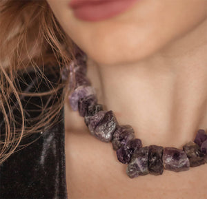 925 Sterling Silver Amethyst Crystal Rock Statement Necklace