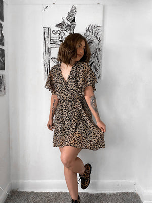 Wrap Dress In Beige Animal Print