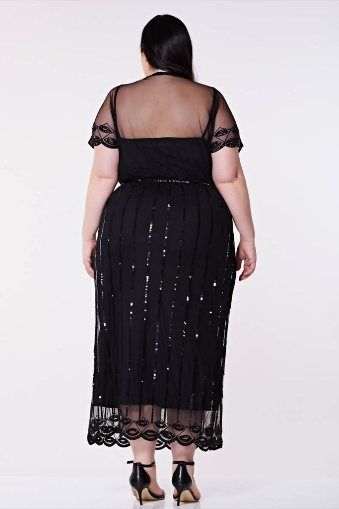 Hand Embellished Angelina Vintage Inspired Maxi Dress - Plus Size