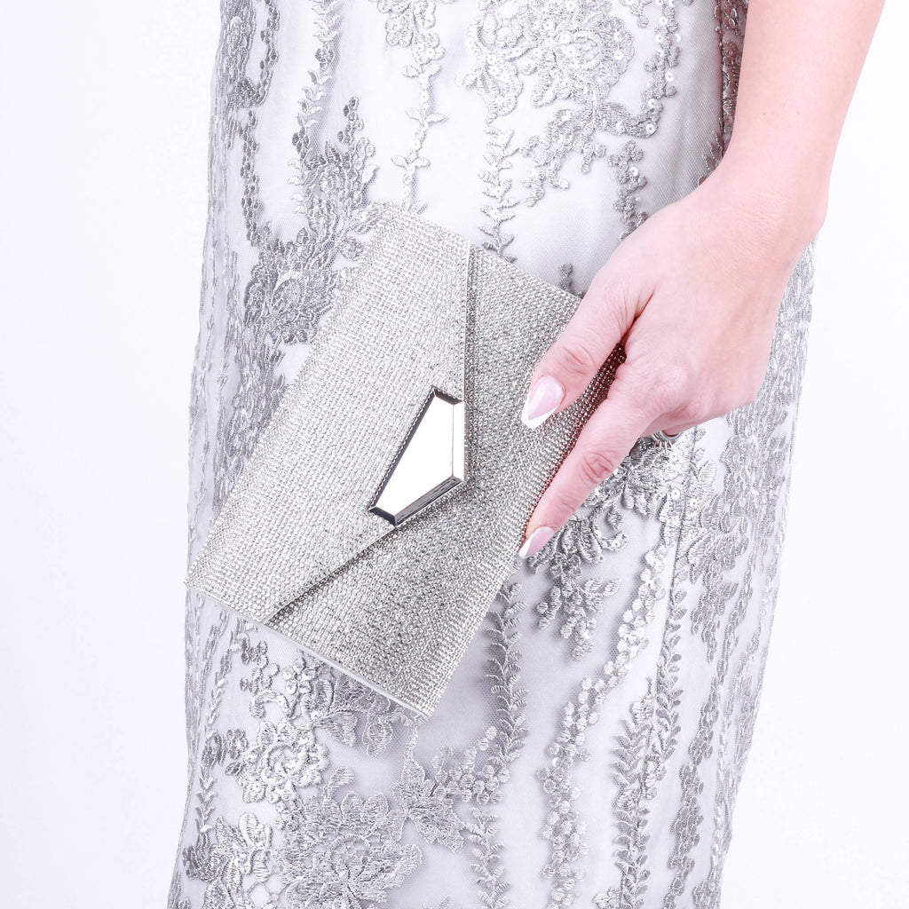 Damaris Silver Embellished Envelope Clutch Bag