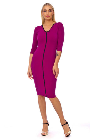 Amaranth Contrast Binding 3/4 Sleeve Midi Dress