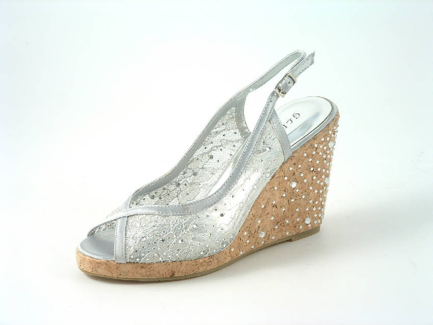 Diamante Satin Platform Wedge Sandals