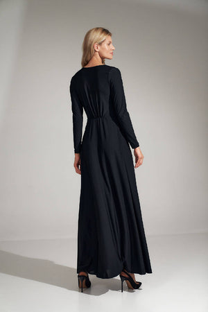 Black flared maxi dress with a V-neck