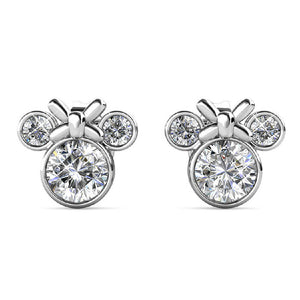 Silver Minnie Mouse Swarovski Crystal Earrings