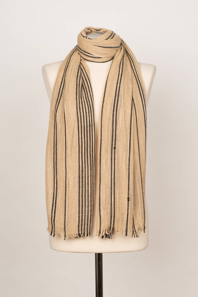 VISCOSE SHAWL BEIGE BLACK