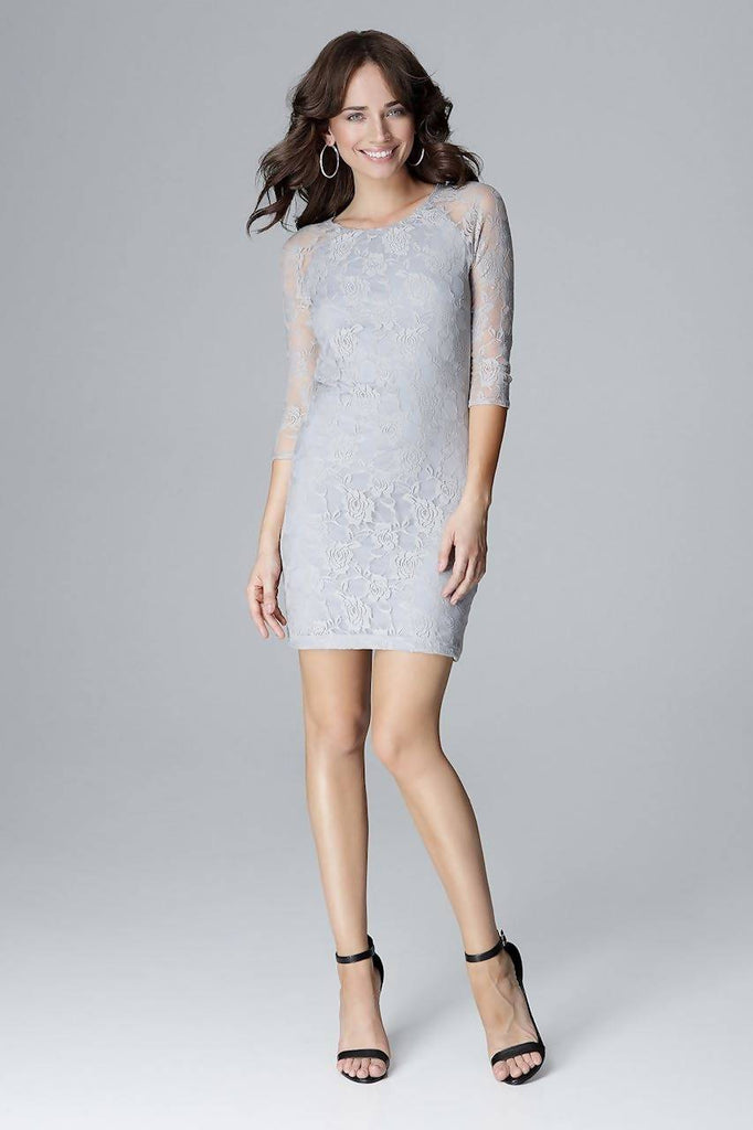 Lace Sleeve Dress L017