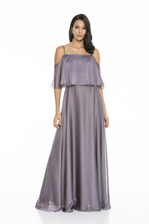 Chiffon Dress With Thin Straps And Slits