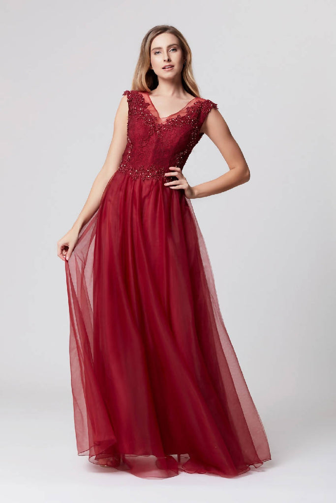 Guipure Embroidered Tulle Maxi Dress