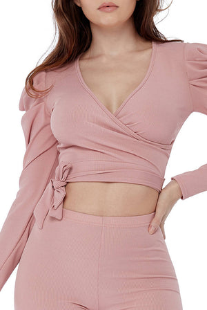 Ruched Ribbed Wrap Crop Top and Leggings Loungewear Set