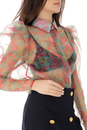 Red Floral Chiffon Puff Sleeve Shirt - Aimelia