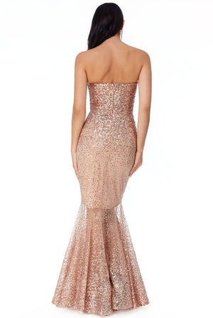 BANDEAU BODICE SEQUIN MAXI DRESS