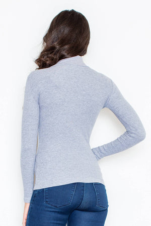 Fitted Turtleneck Blouse M329