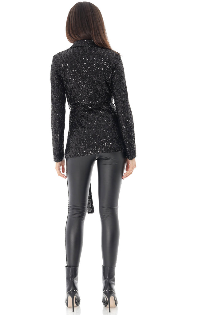 Black tie front sequin tuxedo jacket, Aimelia - JR496