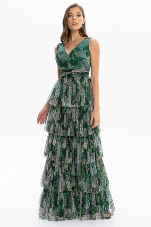 Layered chiffon long dress with green floral chest and back detail