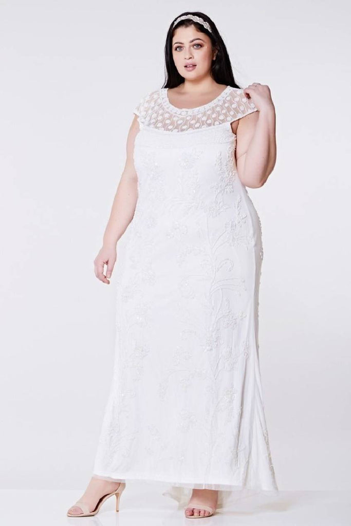 Elizabeth Vintage Inspired Maxi Dress in Off-White