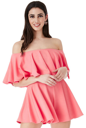 OFF THE SHOULDER FRILL NECK SKATER PLAYSUIT