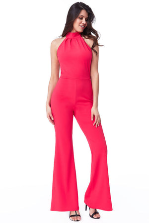 HIGH NECK OPEN BACK JUMPSUIT