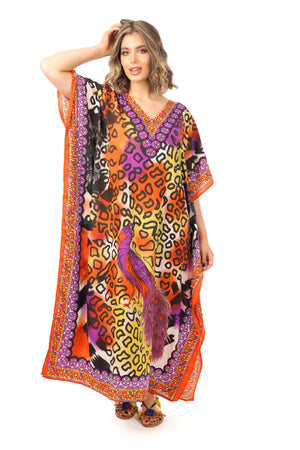 Full Length Long Maxi Kaftan in Animal Print