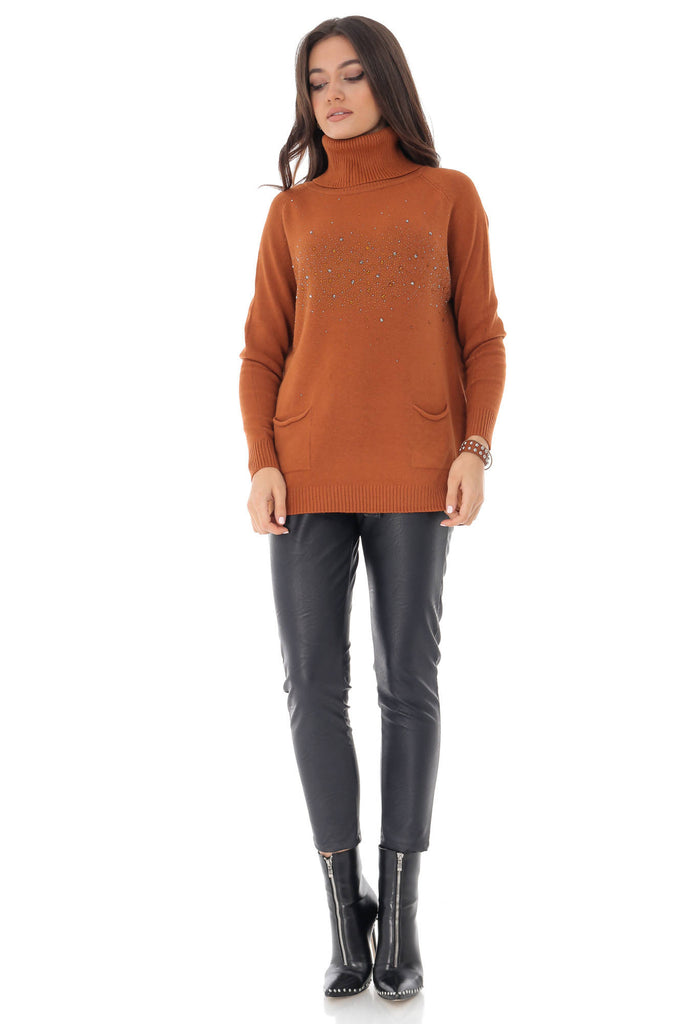 Rust high neck jumper, with studs, Aimelia - BR2233