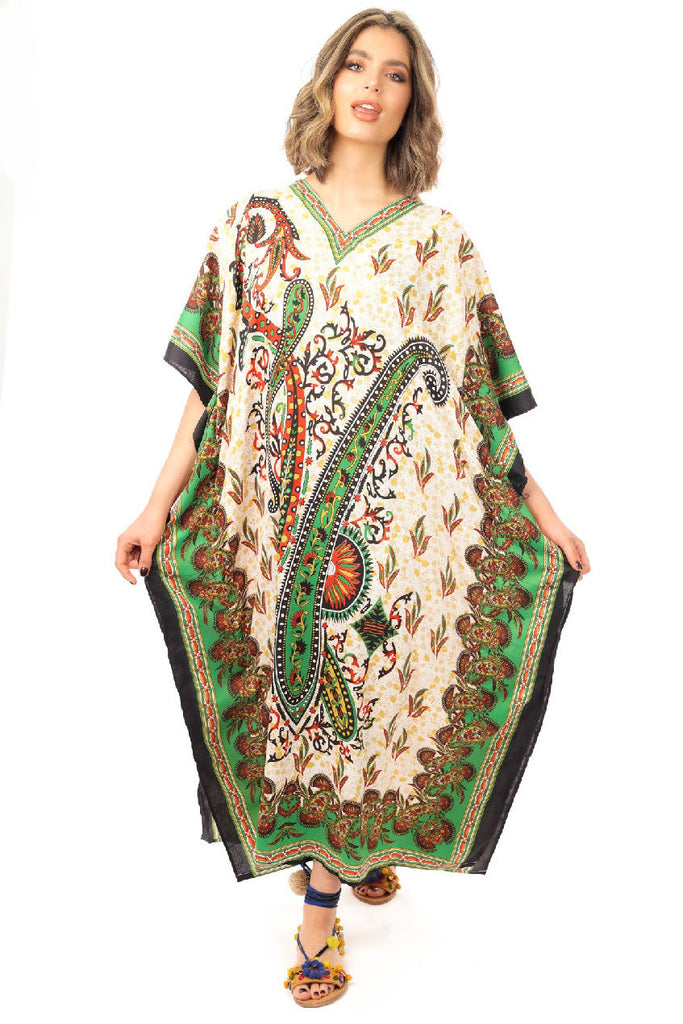 Full Length Long Tribal Print Maxi Kaftan