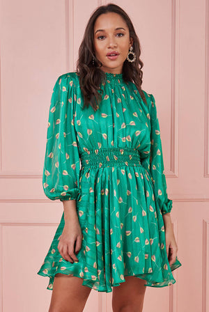 HIGH NECK SHIRRED WAIST TEA DRESS