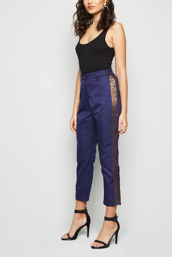 Straight Fit Navy Cropped Pants