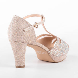 Glitter 'Nora' Wide Fit Platform T-bar Sandals