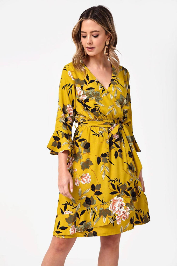 Frill Trim Floral Wrap Dress in Floral
