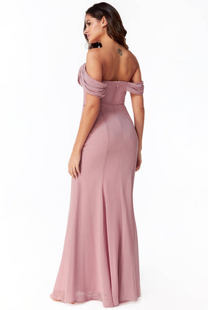 CHIFFON COWL NECK MAXI DRESS