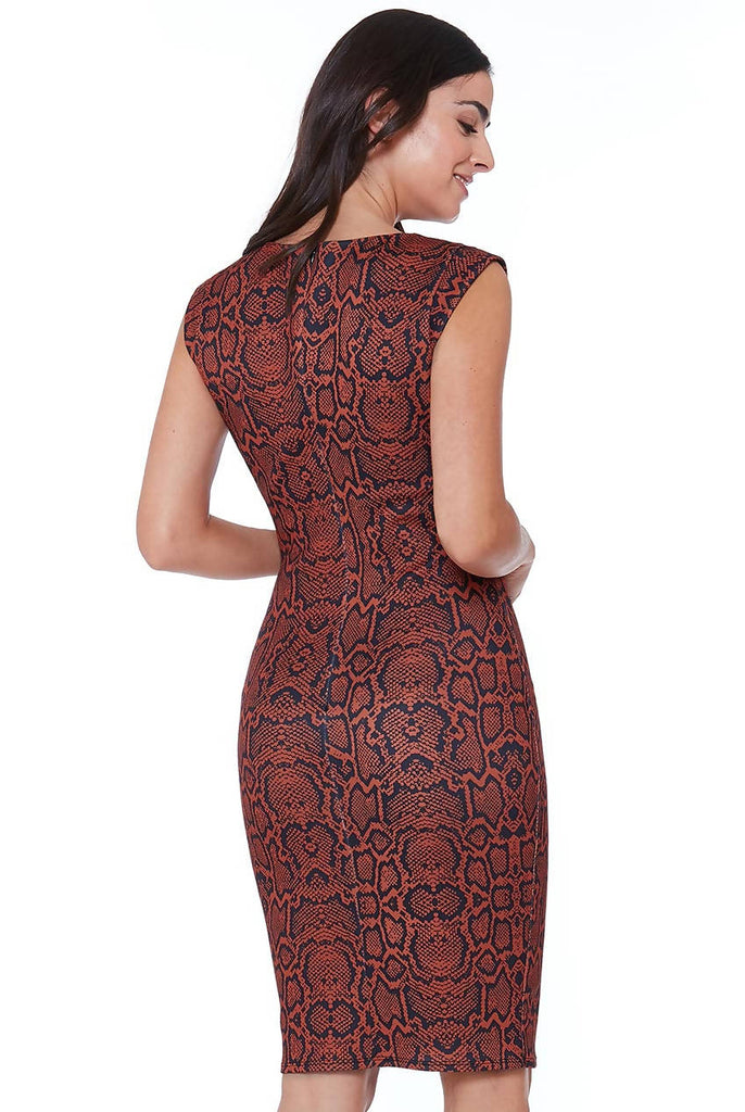 SNAKEPRINT BODYCON MIDI DRESS