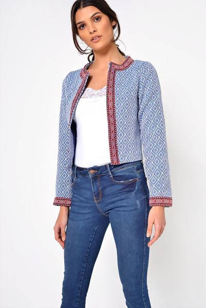 Bali Cropped Embroidered Blazer