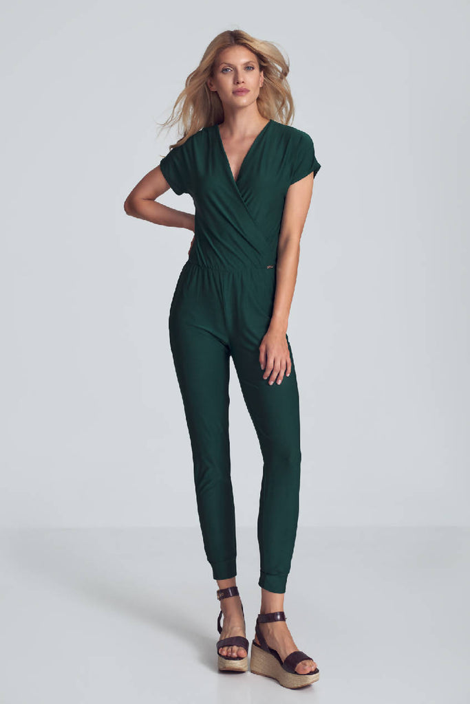 Green Jumpsuit With Wrap Neckline