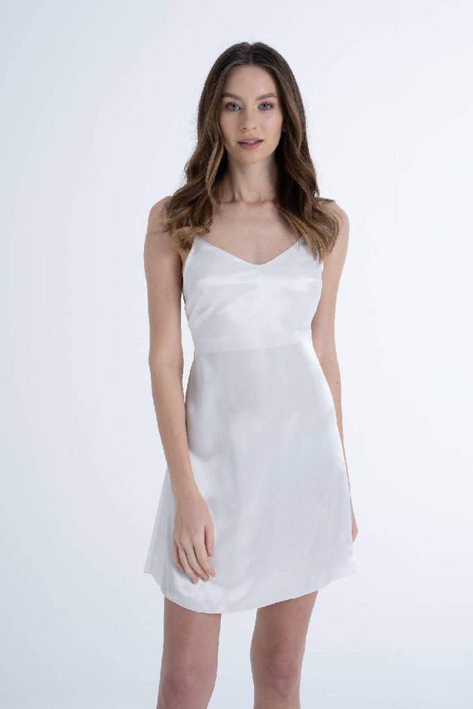 Women Ivory Satin Bride Dress & Nightdress