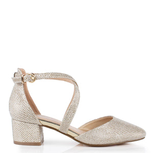 Glitter Mesh 'Francis' Wide Fit Low Heel Two Part Shoe - Champagne