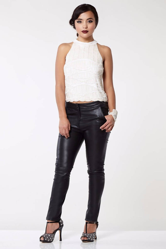 Claudia Genuine Stretch Fitted 100% Leather Trousers - Plus Size