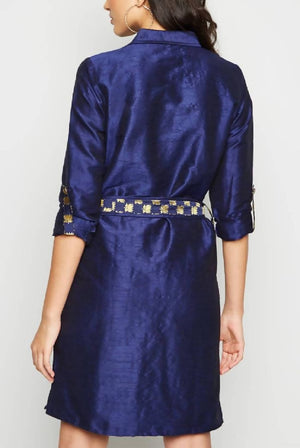 Navy Brocade Midi Shirt Dress