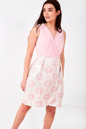 Cross Over Occasion Dress with Jacquard Skirt