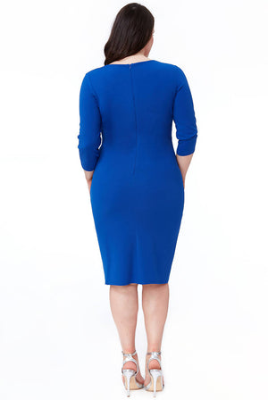 PLUS SIZE CROSS OVER MIDI DRESS WITH FOLD OVER DETAIL