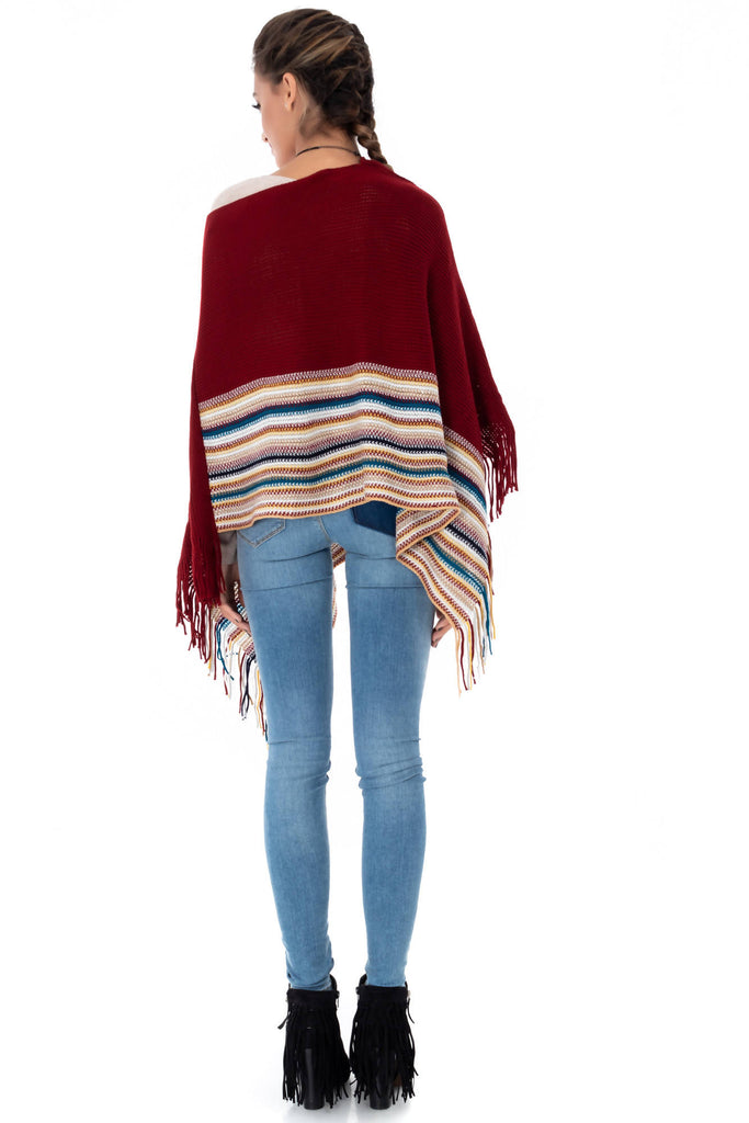 Chic poncho with a contrasting border, Aimelia - BR1902