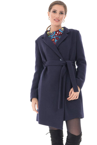 Navy trench coat, with two pockets and self belt , Aimelia - JR491