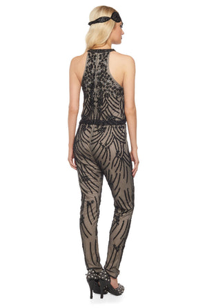 Cora Jumpsuit in Nude Black