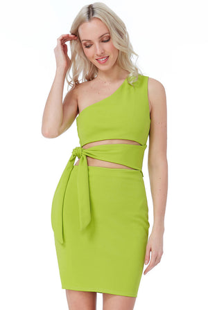 CUT OUT ONE SHOULDER MINI DRESS
