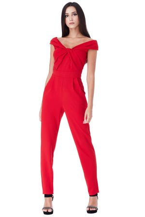 BARDOT JUMPSUIT WITH TWISTED NECKLINE