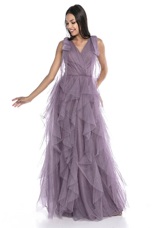 Double Breasted Collar Tulle Evening Dress
