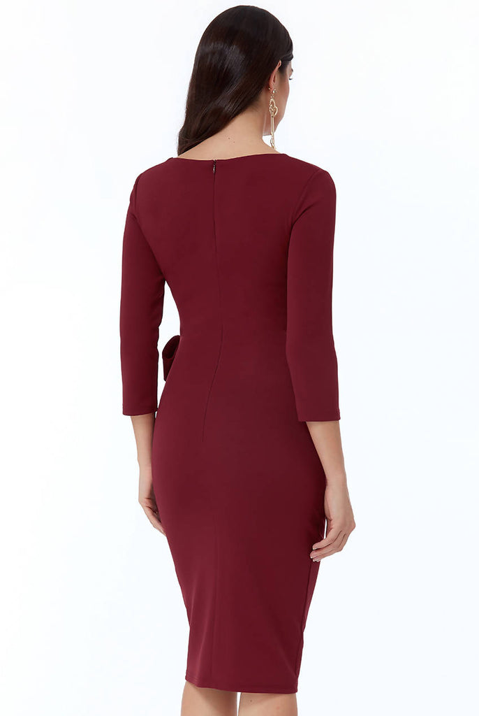 PLEATED FITTED MIDI DRESS WITH TIE DETAIL