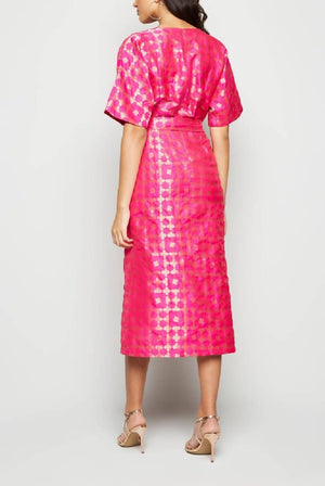Wrap Cross Over Rich Brocade Maxi Pink