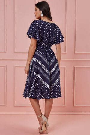 WRAP STYLE FLUTTER SLEEVE PRINTED MIDI DRESS