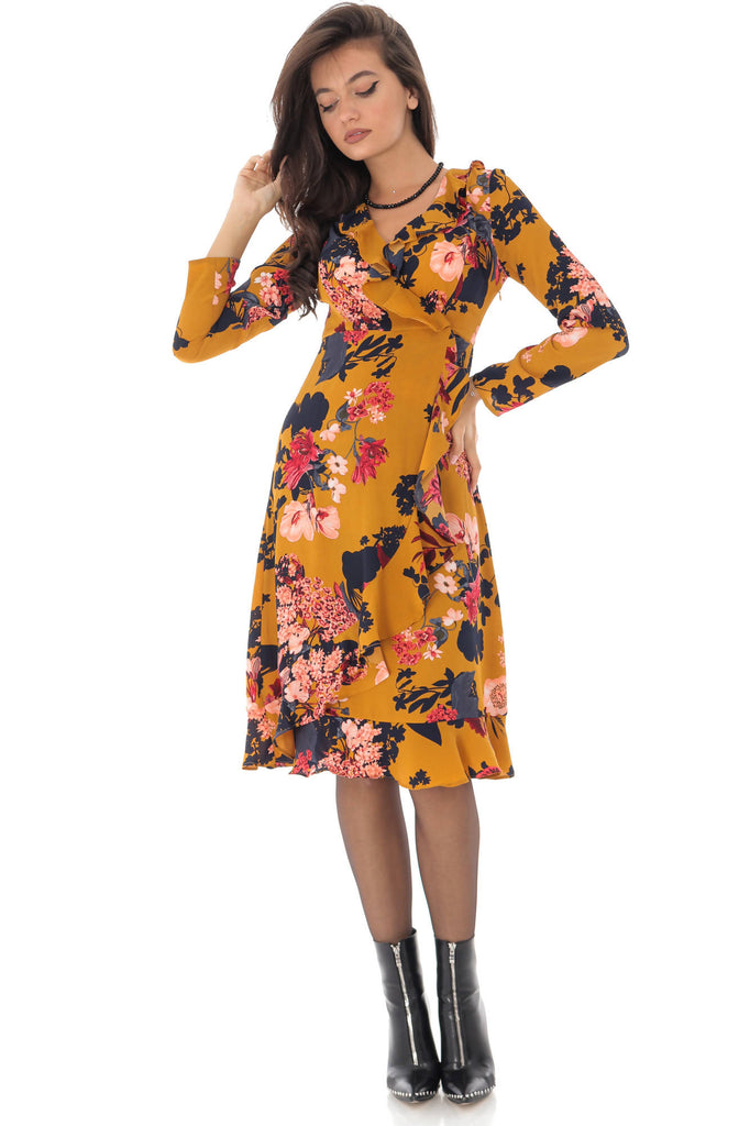 Floral printed wrapover dress, Aimelia - DR3978