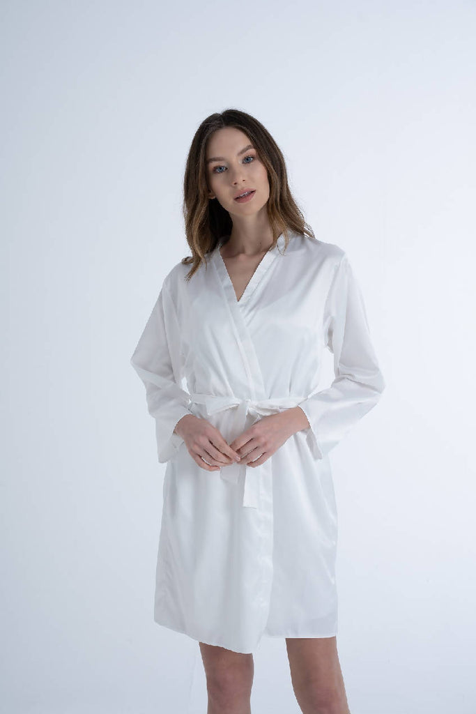Women White Satin Bride Dressing Gown & Robe with Embroidery