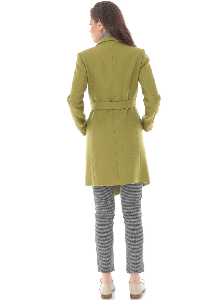 Classic Wool trench coat, with two side pockets and belt, Aimelia - JR490